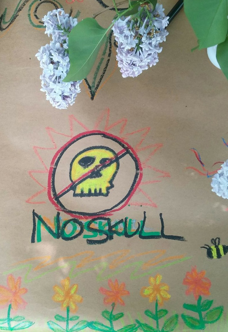 no skull crossed out skull logo in crayon. spring 2018